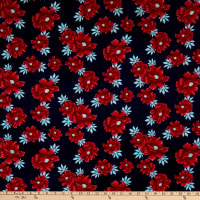 Fabric Merchants Ponte de Roma Knit Floral Navy/Ruby