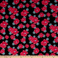 Fabric Merchants Ponte de Roma Knit Floral Black/Pink