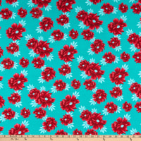 Fabric Merchants Ponte de Roma Knit Floral Mint/Dark Coral
