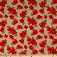 Fabric Merchants Ponte de Roma Stretch Knit Floral Taupe/Coral