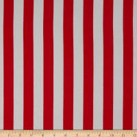 "Fabric Merchants Ponte de Roma Knit 1""  Stripe Coral/White"