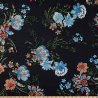 Fabric Merchants ITY Jersey Knit Floral Garden Black/Mint