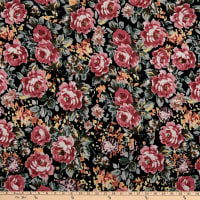 Fabric Merchants ITY Stretch Jersey Knit Roses Black/Mauve