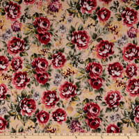 Fabric Merchants ITY Jersey Knit Roses Taupe/Wine