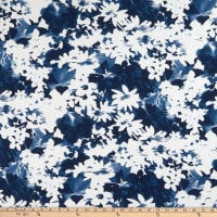Watercolor Linen Blend Flower Navy