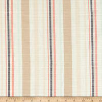 Cotton Yarndye Stripe Khaki/Coral