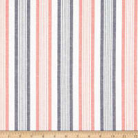 Cotton Chambray Stripe Coral/Navy