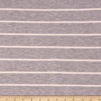 Rayon Spandex Jersey Knit Stripe Heather Grey/Ivory