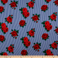 Rayon Spandex Stretch Jersey Knit Striped Roses Navy/Red