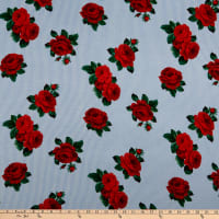 Rayon Spandex Jersey Knit Striped Roses Light Blue/Red