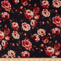Rayon Spandex Stretch Jersey Knit Roses Charcoal/Coral
