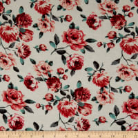 Rayon Spandex Jersey Knit Roses Ivory/Coral