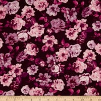 Rayon Spandex Jersey Knit Roses Berry