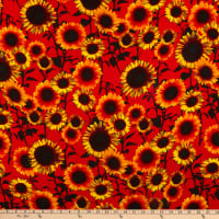 Rayon Challis Sunflowers Gold/Red