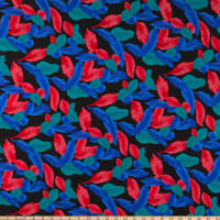 Rayon Challis Multi Feather Look Black/Royal/Red