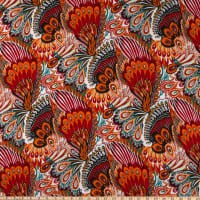 Rayon Challis Abstract Multi Orange/Red