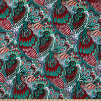 Rayon Challis Abstract Multi Mint/Red