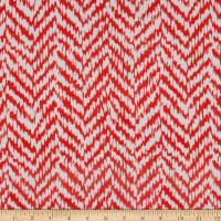 Rayon Challis Abstract Chevron Coral/Ivory