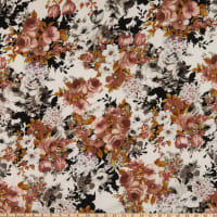 Rayon Challis Vintage Roses Ivory/Taupe