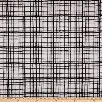 Rayon Challis Abstract Plaid Black/White