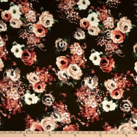 Rayon Challis Roses Olive/Coral