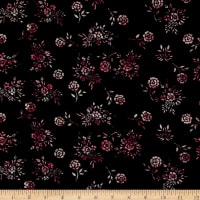 Rayon Challis Mini Floral Black/Berry