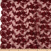 Sequin Embroidery Lace Burgundy