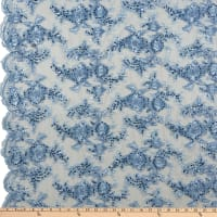 Sequin Embroidery Lace Baby Blue