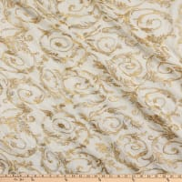 Rayon Linen Metallic Embroidery Ivory/Gold