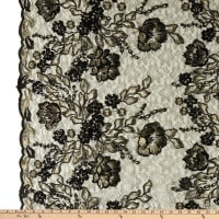 Rachelle Metallic Lace Floral Sequin Black Gold