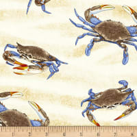 Timeless Treasures Blue Crabs Sand