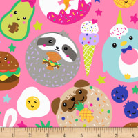 Timeless Treasures Super Cute Foods & Animals Pink