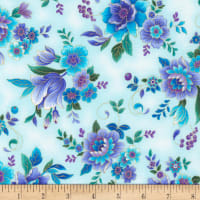 Timeless Treasures Metallic Regency Majestic Flowers Aqua