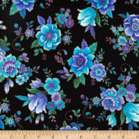 Timeless Treasures Metallic Regency Majestic Flowers Black