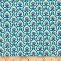 Timeless Treasures Metallic Regency Regal Feather Pattern Aqua