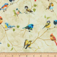 Timeless Treasures Digital Birch Song Painted Birds Perched Taupe