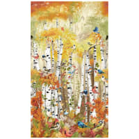 "Timeless Treasures Digital Birch Song 24"" Panel Birds In Birch Trees Multi"