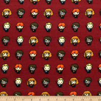 Harry Potter Lined Up Kawaiis Bamboo Rayon Flannel Burgundy