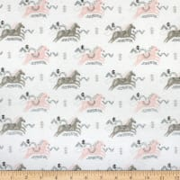 Jumping Horses Flannel White