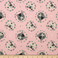 Bear Wreaths Flannel Pink