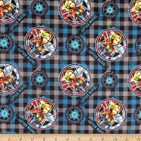 Marvel Captain Marvel Sketched On Plaid Flannel Dark Grey