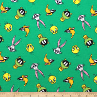 Looney Toons Tossed Faces Flannel Green