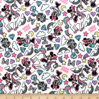 Minnie Mouse I Believe in Unicorns Flannel White