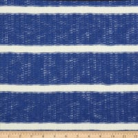 Fabric Merchants Splendid Apparel Loose Sweater Knit Stretch Stripe Cobalt