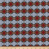 Fabric Merchants Liverpool Double Stretch Knit Bohemian Floral Mocha/Red