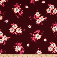 Fabric Merchants Liverpool Double Stretch Knit Mini Floral Wine/Coral