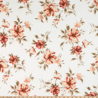 Liverpool Double Knit Floral Ivory/Coral