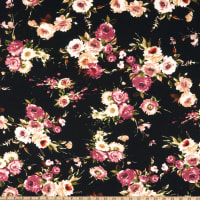 Liverpool Double Knit Floral Bouquet Black/Berry