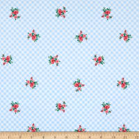 Swimwear Nylon Spandex Gingham Floral Light Blue/Coral