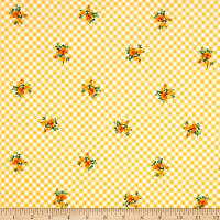 Swimwear Nylon Spandex Gingham Floral Sunshine Yellow